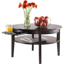 Wood Round Coffee Table Pull-Out Tray Shelves Living Room Furniture Espresso NEW