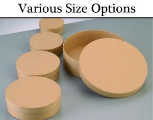 Single Paper Mache Round Flat Boxes with Lids to Decorate | Papier Mache Boxes