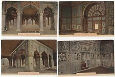 4 India unused postcards Interior Deewan Khas, Samman Burj, Fort Delhi, Shahjan