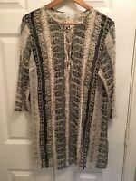 CAbi #867 Beatnik Blouse Lace Up Tunic Size S 3/4 Sleeve Semi Sheer Boho Top EUC
