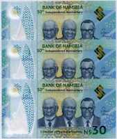 NAMIBIA 30 DOLLARS 30th INDEPENDENCE 1990-2020 COMM. P NEW POLYMER UNC LOT 3 PCS