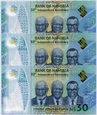 NAMIBIA 30 DOLLARS COMM. 2020 P NEW POLYMER UNC LOT 3 PCS