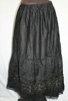 RARE FRENCH EDWARDIAN BLACK COTTON EMBROIDERED SKIRT 5