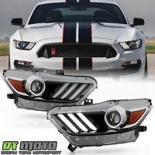 2015-2017 Ford Mustang HID/Xenon Type LED Tube Projector Headlight Headlamps Set