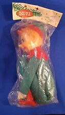 Vtg SHINY BRITE Large Pixie Knee Hugger Elf Xmas Decoration Green Japan NEW OS