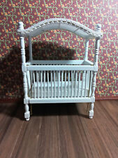 Dollhouse Miniature White Canopy Crib 1:12 Scale Furniture