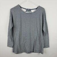 Soft Surroundings Womens Top Size XS Petite Blue Striped Long SLeeve Scoop Neck