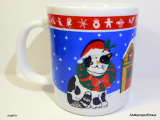 Christmas Holiday Coffee Hot Cocoa Mug Cup w/ Kitty Cat 10oz White