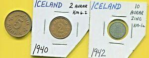 ICELAND - THREE BEAUTIFUL HISTORICAL 1940'S COINS, 2 AURAR, 5 AURAR & 10 AURAR