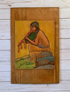 Native American Hand Carved Relief Wood Plaque Painting Eanger Corse Replica