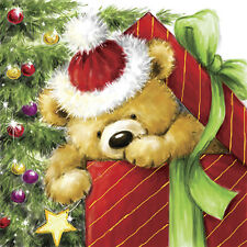 Christmas 20 Paper Lunch Napkins TEDDY BEAR GIFT Festive Serviettes Red Green