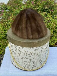 Vintage Women's Mink Fur Hat Cap in Box