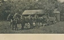 c1910 RPPC 4 Horse Team Pulling Hay Wagon Cart Farm Real Photo Postcard