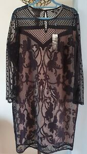STAR BY JULIEN MACDONALD DEBENHAMS  BLACK AND CREAM LACE  DRESS BNWT 20