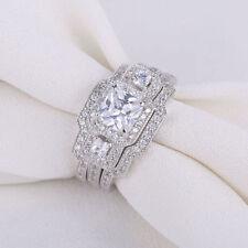 Bridal 3pcs Princess White CZ 925 Sterling Silver Wedding Engagement Ring Set 8