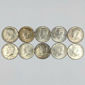 Lot of 10- 1964 Kennedy Half Dollars 90% Silver 187863B