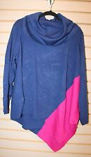 NEW WOMENS PLUS SIZE 3X PINK & BLUE ASYMMETRICAL COWL NECK PULLOVER PONCHO SHIRT