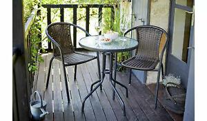 Tasmania Rattan Effect Patio/Balcony Set - Brown Bistro Table & 2 Chairs Set