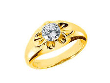 Real 0.75Ct Round Solitaire Mens Wedding Band Ring 14K Yellow Gold H Si2 Prong