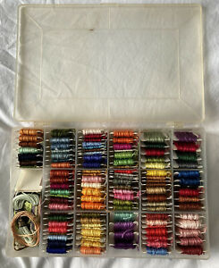 Embroidery Thread Storage Box with 111 DMC threads bobbins + extra