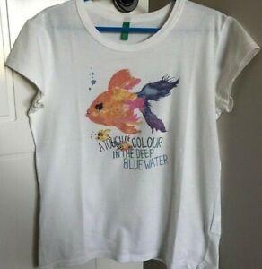 United Colors of Benetton Girls' rainbow goldfish white t-shirt size 7-8 years