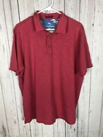 Tommy Bahama Men Size L Short Sleeve Polo Pima Cotton Shirt Dark Pink Golf