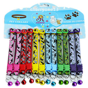 New 12PCS Lot XXS/XS Small Dog Collar Cat Puppy Nylon Necklace W/Bell Adjustable