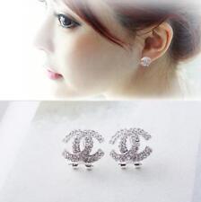 Women Elegant Rose Crystal Rhinestone Ear Stud Flower Earrings Fashion Jewelry