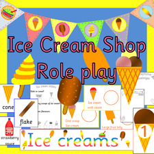 Ice cream shop role play pack on CD-summer /seaside- EYFS, KS1, KS2, childminder
