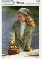 Wendy 3646 Orinoco Child's Jacket and Hat Chunky with Flower Garden 24 to 30 ins