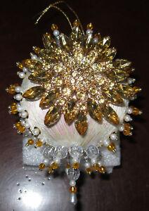 Golden Medallion Beaded Ornament KIT ~ NEW - Iridescent Ornament - Gold Beads