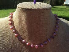 HDMD by Cyndi Necklace of Rose Pink Freshwater Pearls w/ Pink Glass Seed Beads