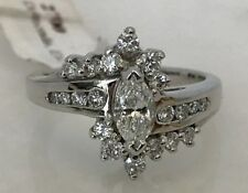 Stunning 14k White Gold Marquis Diamond Ring Surrounded by Round Diamonds