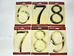 """6"""" Polished Nickel or Brass #6, 7, 8, 9 House Numbers Home Address Whitehall NEW"""