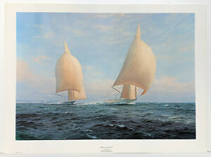 Sailing Ships Rainbow and Endeavour by J Steven Dews signed Reproduction Print