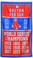 Boston Red Sox 9-Time World Series Champions Flag Banner 3x5 Feet Man Cave