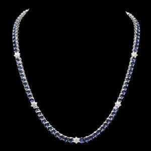 23.00 Ct Blue Sapphire & Diamond Cluster Women's Tennis Necklace 14K White Gold