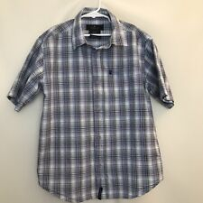 Reaction Kenneth Cole Boy's Size M 12 14 Plaid Button Down Blue Red Kid's Youth