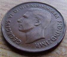 1942 Australia Bronze Very Fine Penny, George VI, Nice Details,