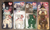 Maple The Bear w Errors Ty Beanie Babies NIB OAKBROOK rare, *All 4 Complete*