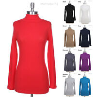 Basic Solid Long Sleeve Turtle Neck Mock Neck Top Stretchable Cotton Tee S M L