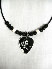 68 SPECIAL BLACK & WHITE ELVIS PRESLEY PHOTO GUITAR PICK PENDANT ADJ NECKLACE