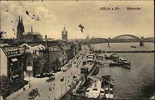 Köln Cöln am Rhein ~1910 Rheinufer Bridge Brücke Schiffe gel. n. Gaugrehweiler
