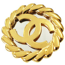 2 5 France Vintage Authentic #7897 M Chanel Cc Logos Mirror Pin Brooch Gold-Tone