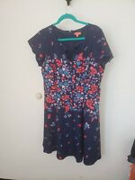ModCloth A Line Fit and Flare Floral Blue Dress EUC Size XLarge