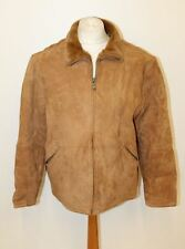 UGG Men's Tan Brown Sheepskin Suede Leather Collared Zip Front Jacket XL