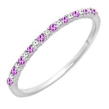 14K White Gold Round Amethyst & White Diamond Ladies Stackable Wedding Band