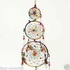 New 76cm Three Hoop Multi Coloured Hemp Dream Catcher from Nepal - Fair Trade