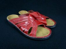 Clarks Slip-On Red Leather Artisan Women's Sandals, Slides Shoes Size 8M (72538)