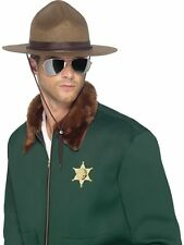 Fancy Dress Costume Hat - Canada Canadian Mountie Ranger Hat - Brown Felt -22389